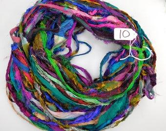 Sari Silk Ribbon, Recycled Silk Sari Ribbon, multi color Fuzzy ribbon, washed ribbon, weaving supply, knitting supply, rug supply
