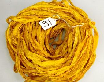 Sari silk Ribbon, Recycled Silk Sari Ribbon, yellow sari ribbon, weaving supply, knitting supply, crochet supply, mustard yellow ribbon
