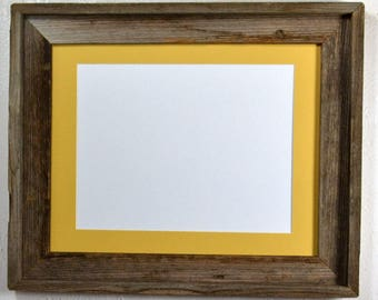 Picture frame 8.5x11 yellow mat without mat 11x14 from reclaimed wood complete with glass