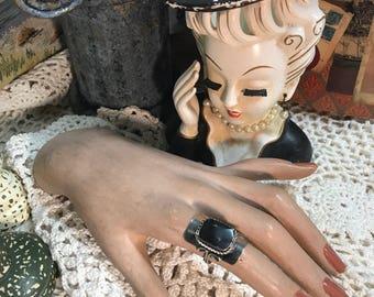 Vintage Black Onyx natural stone silver ring