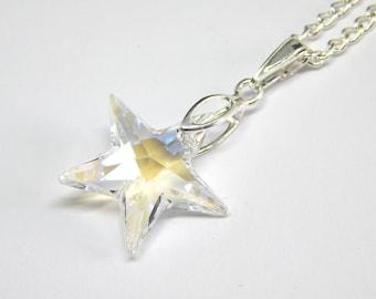 White Grey Swarovski Star Necklace - Moonlight Crystal - White Grey Crystal Star Necklace - Swarovski Elements - Smoke Crystal Star Pendant