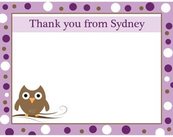20 Personalized Thank You Cards  Purple  Baby Owl  - Baby Shower Thank You