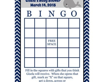 24 Personalized Whale Baby Shower Bingo Cards   - Nautical Baby Shower - Whale Baby Shower - Sea Baby Shower - Nautical Bingo Cards
