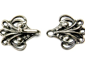 16mm Antiqued Hook & Eye CLASP 925 Sterling Silver 3 Strand