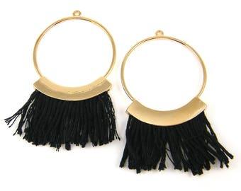 Black Thread Earring Findings, Large Hoop Fringe Earring Dangles Boho Black Gold Bold Hoop Statement Jewelry Supply |BL9-10|2