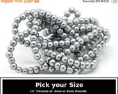 "40% Retirement Closeout - Pick Your Size, Dove Gray, Glass Pearl, 4mm or 8mm Glossy Round, 15"" Strand, 8GL14-8754"