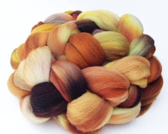 """Targhee Wool Combed Top Hand-dyed Spinning Fiber, 4 oz, """"Outback"""" Kettle Dyed in Orange, Yellow, and Taupe"""