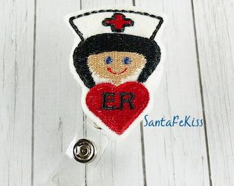 ER Nurse ID Badge Holder - Embroidered Felt Badge Reel - Retractable ID Badge Holder - Badge Reel Clip - Medical Badge