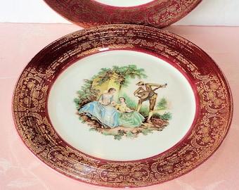 Vintage Sebring Pottery SERENADE Burgundy 2 Dinner Plates Red Maroon Gold Filigree 18th Century Costume