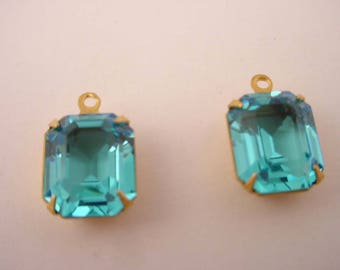 4 Vintage Glass Blue Topaz set  brass  Prong  Octagon  Open Back Drop Charms 1 ring 12x10