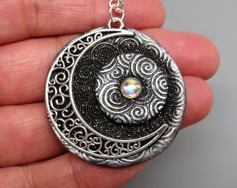 Partial Eclipse Celestial Moon and Stars Pendant, Polymer Clay in Metallic Silver and Black with Filigree Moon and Vintage Glass Cabochons