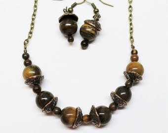 Autumn Acorn Necklace and Earring Set, Tiger's Eye Beads with Hand Cast Bronze Bead Caps, Beaded Jewelry