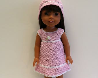 Instant Download - PDF Crochet Pattern 1 - Doll clothes - Dress and Hat. Fits Wellie Wishers and similar dolls.