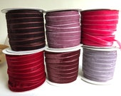 """Velvet ribbon 6mm, 1/4"""" width / Wholesale ribbon /whole spool /over 80 colours / also available in 9mm / 3/8"""" Wedding Ribbon / Decorative"""