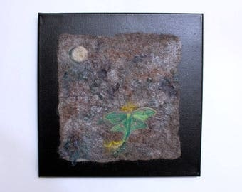 Luna Moth and Moon Felted Wool Paining
