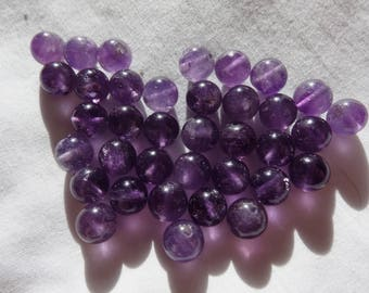 """11"""" Loose Beads Natural Amethyst 8mm Round Stone Beads A967"""