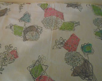 Vintage barkcloth midcentury fabric with pastel pink, teal, brown, gray and cream colors in an atomic / geometric pattern