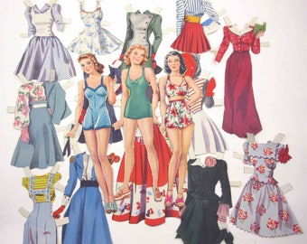 Vintage 1940s or 1950s Paper Dolls Girls Ladies and 13 Outfits