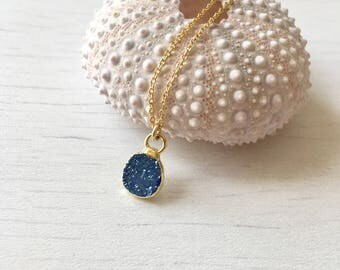 Tiny Blue druzy necklace, gold druzy necklace,royal blue necklace,gift for her,gift under 50,delicate druzy necklace,boho style,blue druze