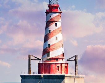 White Shoal Light, Lake Michigan, Lighthouse Photo, Barber Pole Light, Michigan Decor, Red And White, Landscape Print, Fine Art Photograph