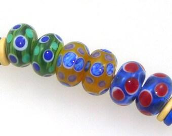 Handmade Lampwork Glass Beads - 3 pairs. Stacked dots on translucent kiwi green, pineapple yellow, laguna blue. Earring pairs, summer.