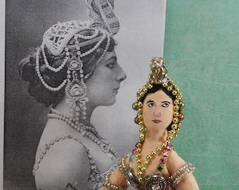 Mata Hari Exotic Dancer Historical Women Miniature Doll Collectible Art