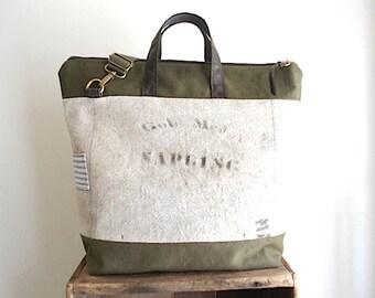 Grain sack, military canvas carryall, crossbody tote bag - eco recycled fabrics