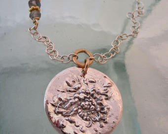 Handcrafted Silver and Gold Chrysanthemum and Labradorite Botanical Necklace