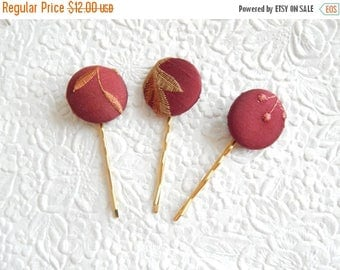 CLEARANCE - 3 wine hair-pins, embroidered hairpins, fabric hairpins, 1 1/8 inch hairpins, hair accessory, womens accessory