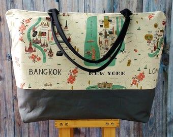 Weekender -Weekender Bag -Travel Gift -Gift for Travelers -Rifle Paper Co Fabric- Weekender Bag Women -Wanderlust Gift- Weekender Bag Canvas