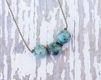 matte turquoise / big triple knotted / handspun ROPE necklace / waterproof / kid-proof / life-proof / bohemian / minimalist beauty /