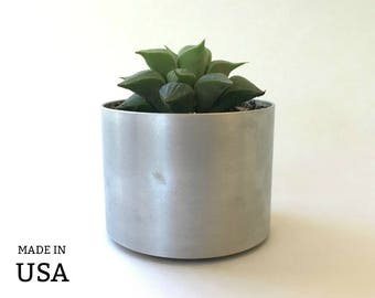Metal Cactus Planter, Silver Metal Succulent Pot, Office Decor Desktop Planter, Recycled Metal, Sustainable Gifts Made in USA