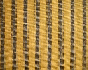 Homespun Ticking Fabric | Mustard And Black Woven Ticking Fabric | Ticking Striped Fabric |  Primitive Fabric | Cotton Rag Quilt Fabric