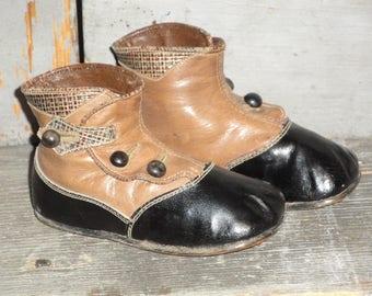 Vintage Leather Victorian Button Up Hard Sole Toddler Shoes  | Old Baby Shoes | Antique Black And Brown Leather Baby Shoes | Primitive Shoes