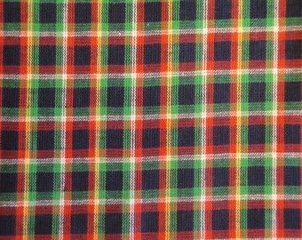 Homespun Material | Plaid Material | Cotton Material | Rag Quilt Material | Navy, Green, White And Yellow Large Plaid Material