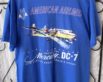 Vintage American Airlines T Shirt Turbo Compound The Nonstop Mercury DCT Blue XL Excellent Condition
