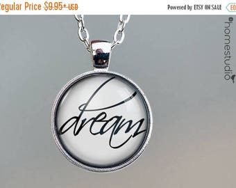 ON SALE - Dream Script : Glass Dome Necklace, Pendant or Keychain Key Ring. Gift Present metal round art photo jewelry by HomeStudio