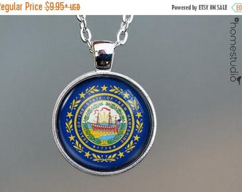 ON SALE - New Hampshire Flag : Glass Dome Necklace, Pendant or Keychain Key Ring. Gift Present metal round art photo jewelry by HomeStudio