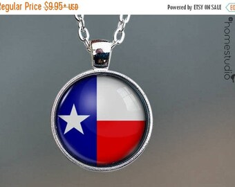 ON SALE - Texas Flag : Glass Dome Necklace, Pendant or Keychain Key Ring. Gift Present metal round art photo jewelry by HomeStudio