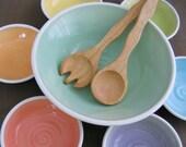 Rainbow Salad Bowl Set, Ceramic Serving Bowls, Wedding Gift, Pottery Anniversary Gift, Handmade Stoneware