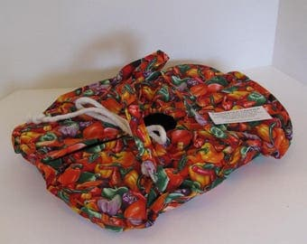 Casserole Carrier, 9X13, Large, Oval, Insulated, Hot or Cold Foods, Bell Peppers, Red, Gold, Green , Bridal Gift , Mother's Day ,