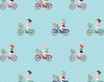 ON SALE Tasha Noel Vintage Market Bike Ride Aqua