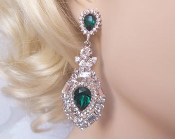 Emerald Green Victorian Chandelier Earrings with Swarovski Crystal Vintage Glam Wedding Art Deco Bridesmaid Gift for Bride Prom Earrings