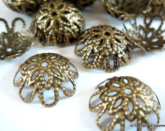 25 Antique Bronze Bead cap Flower Plated Iron NF 9-14mm - 25 pc - F4123BC-AB25-M