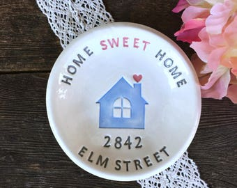 Home Sweet Home Personalized  Housewarming Gift Dish - Ceramic Trinket Dish, Hostess Gift, New Home Gift, Gift for New Homeowner, Ring Dish