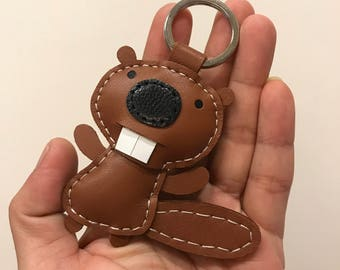Special Offer - Small size - KuKu the Squirrel cowhide leather keychain ( Brown )