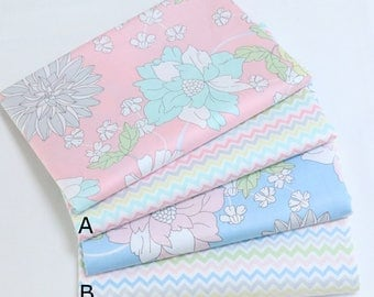 4703 - Flower & Colorful Zigzag Cotton Fabric - 62 Inch (Width) x 1/2 Yard (Length)