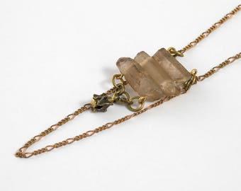 Natural Quartz Necklace - Vertebrae Jewelry - Coffee Quartz Jewelry - Crystal Necklace - Natural Crystal - Crystal Pendant - Quartz Pendant