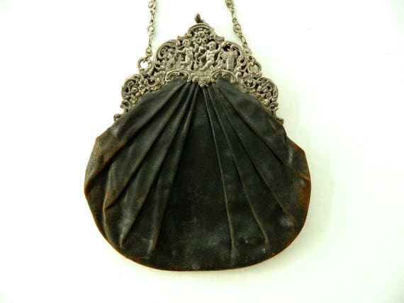 Vintage Victorian Silver and Leather Purse Bag