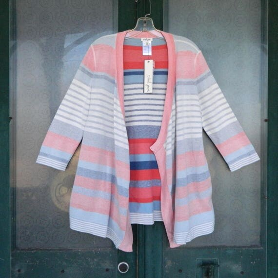 Tribal Transitional 3/4 Sleeve Reversible Cardigan Sweater -M- Distressed Blue/Pink/Gray/White Stripe Cotton NWT